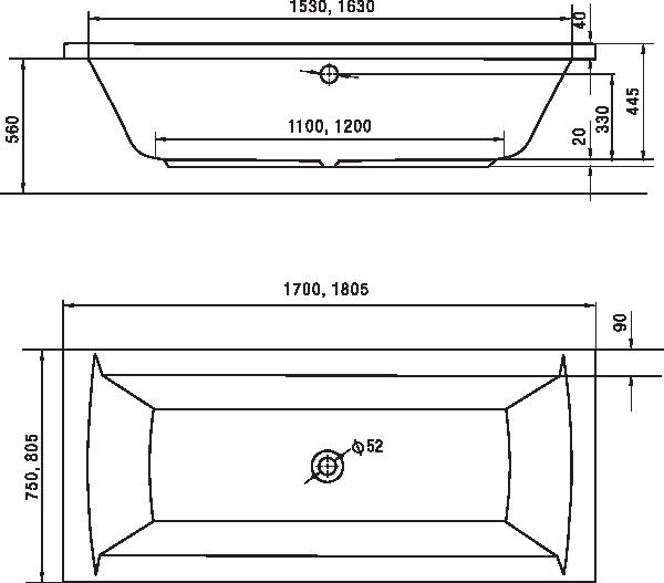Standardní rozměr vany