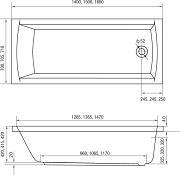 Obdélníková vana HOPA Monza 160 x 70 cm - schéma